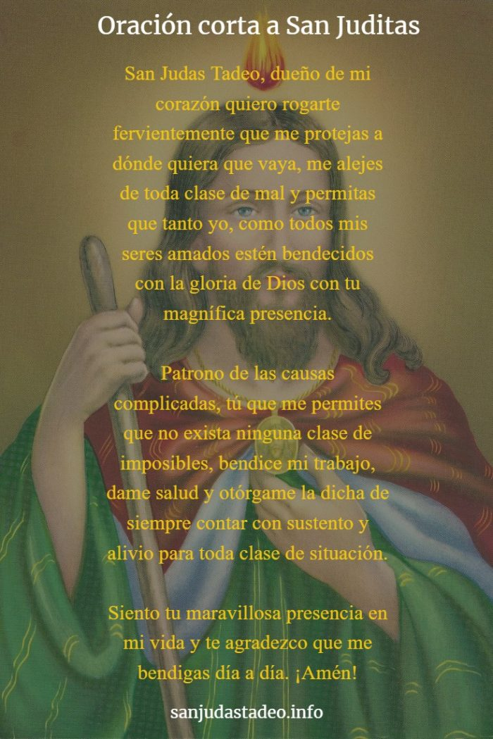 oración a san judas tadeo corta